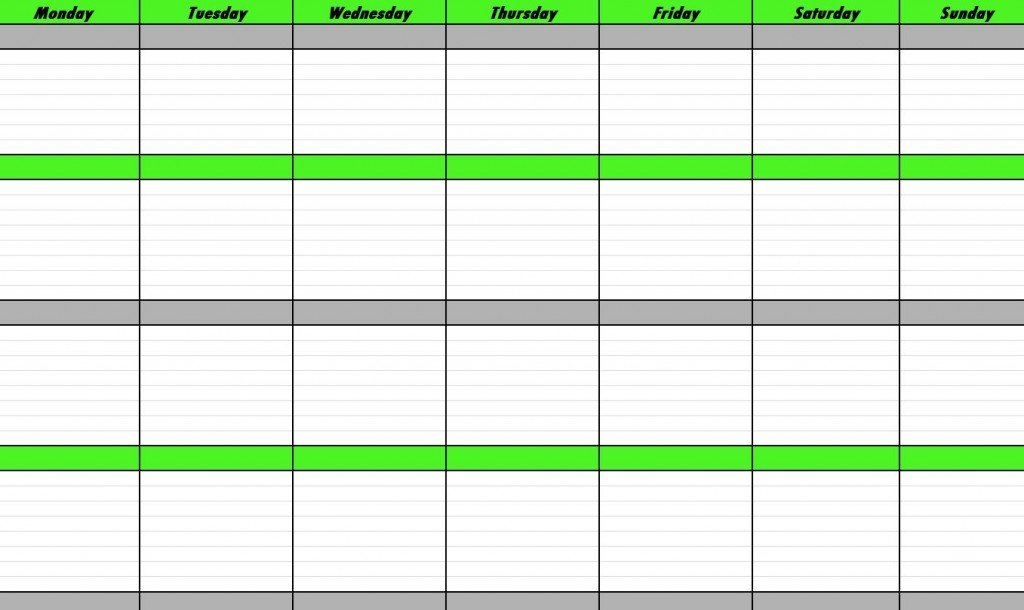 Weekly Schedule Template | E Commercewordpress Free Sunday Through Saturday Scheduling Calender