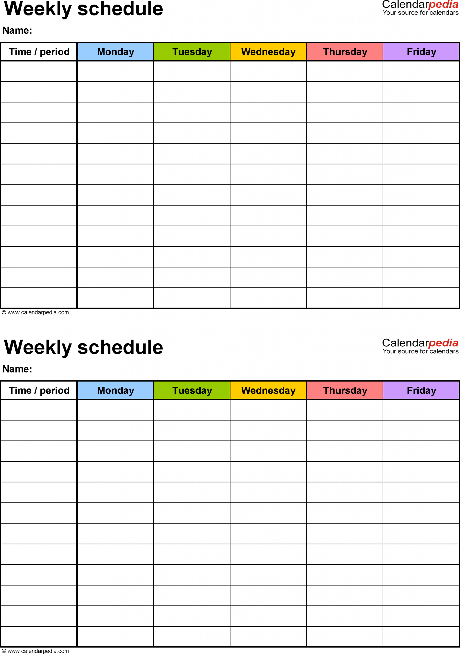 Weekly Schedule Template For Pdf Version 3: 2 Schedules On Mon Fri Calendar Template