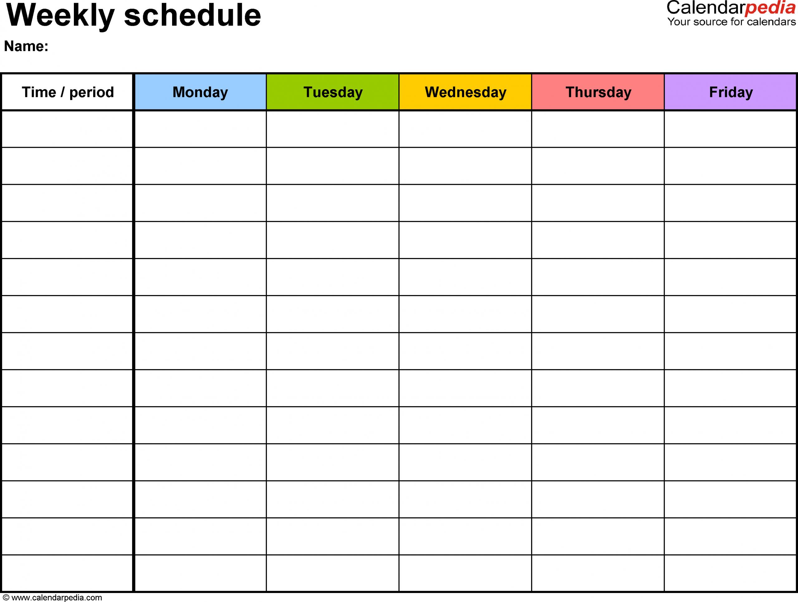 Weekly Schedule Template For Word Version 1: Landscape, 1 Sprint Days Calendar Excel