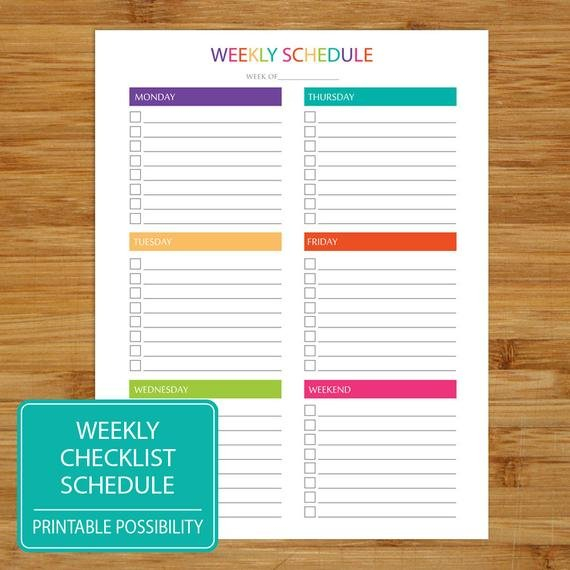 Weekly To Do List Schedule Printable Weekly Checklist Printable 1 Week Schedule