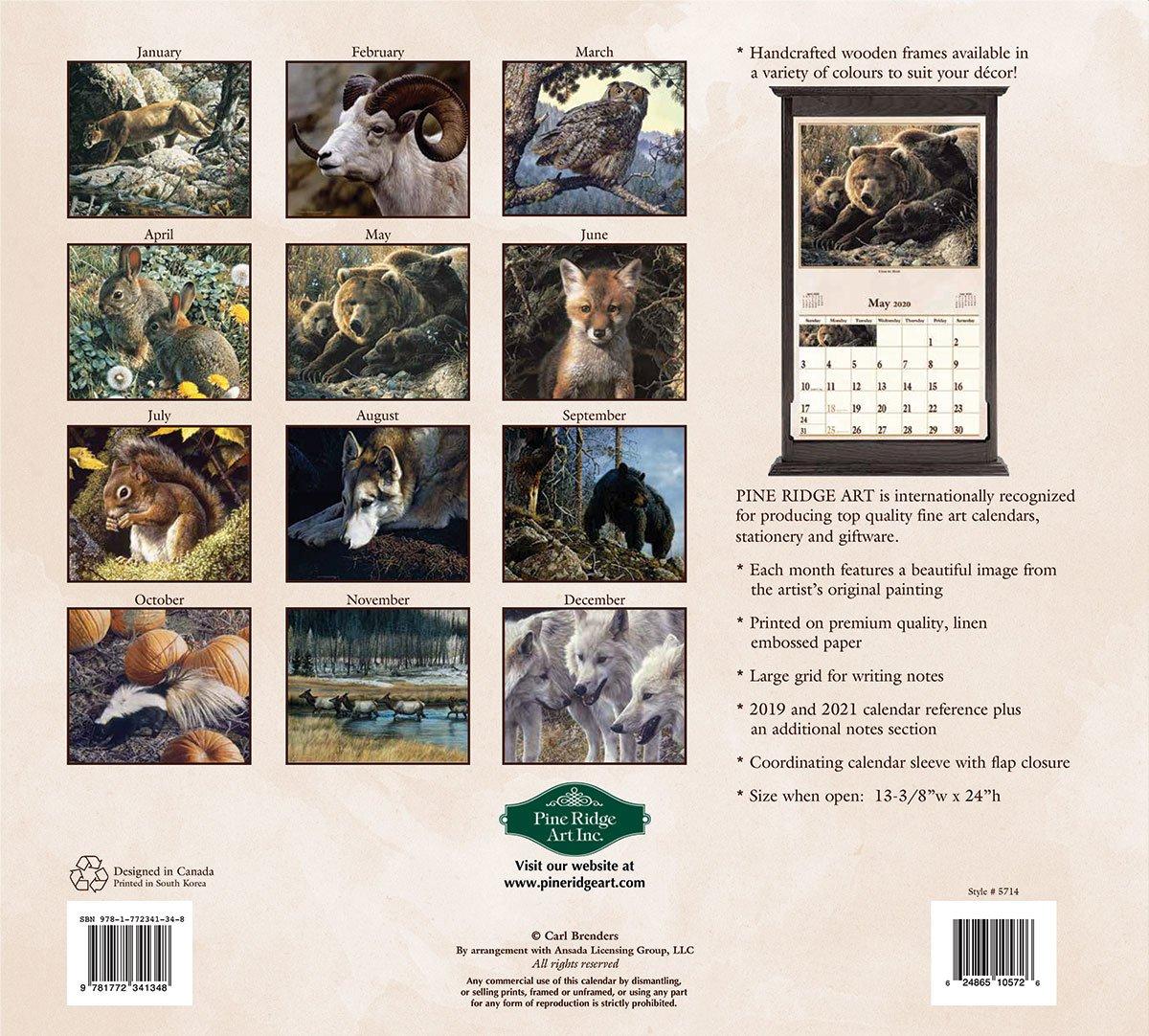 Window On Wildlife 2020 Wall Calendar   The Lang Store Wooden 3 Month Calendar Frame