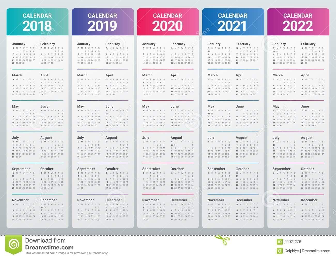 Year 2018 2019 2020 2021 2022 Calendar Vector Stock Vector Free 4 Year Calendar Printable
