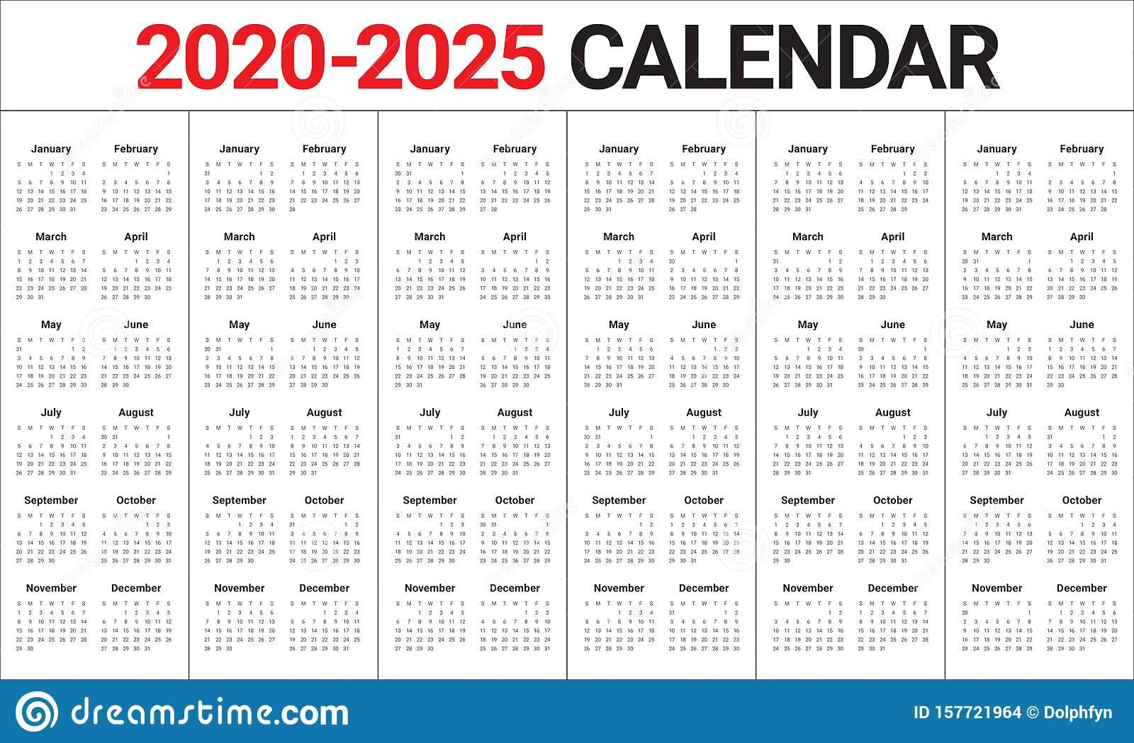 Year 2020 2021 2022 2023 2024 2025 Calendar Vector Design Five Year Calendar Image