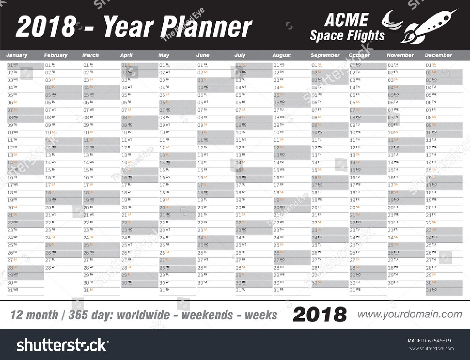 Year Planner Calendar 2018 Vector Annual Stock Vector Calendar With 365 Days Numbered
