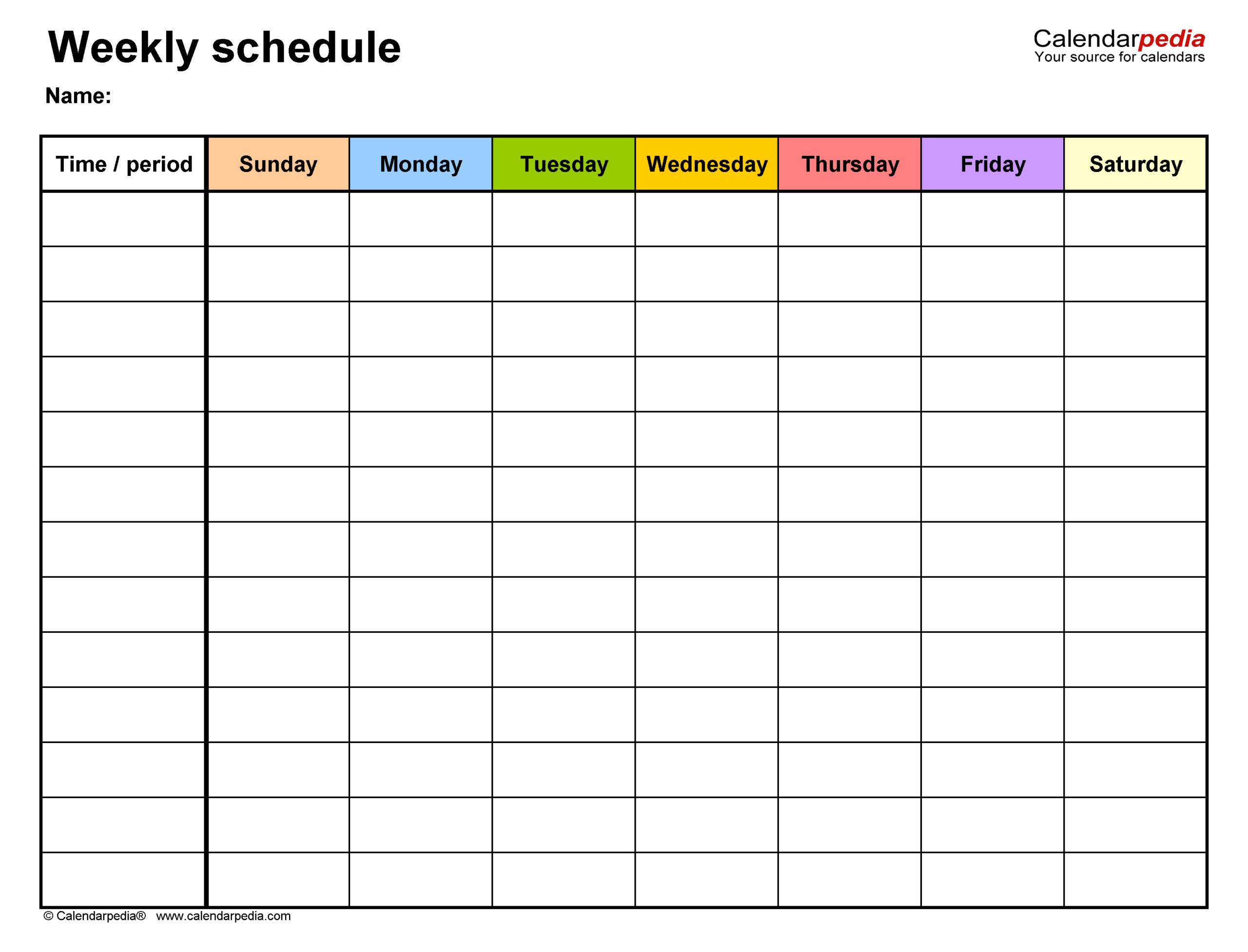 1 Week Calendar Fillable Printable | Calendar Printables 1 Week Schedule Template