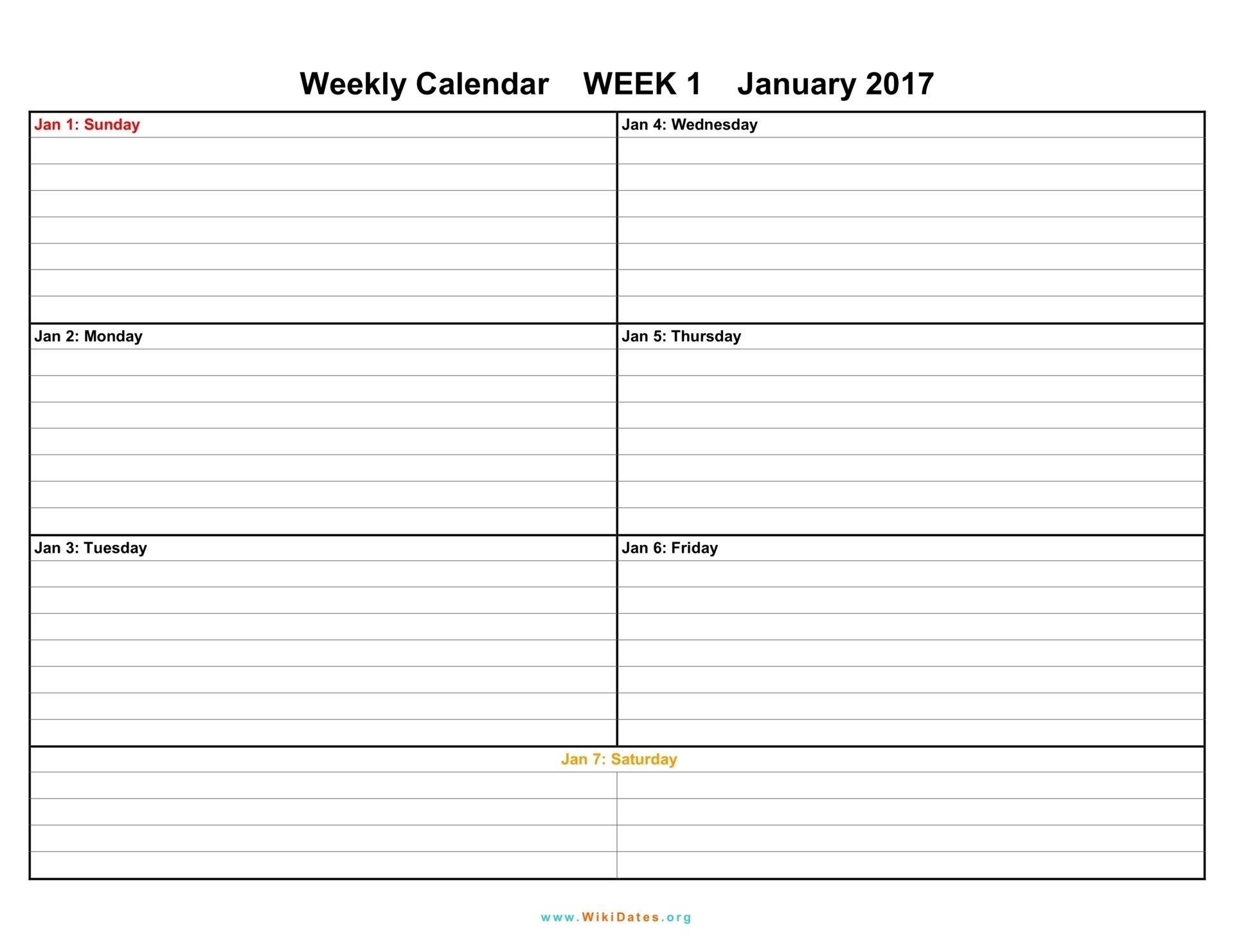 1 Week Vacation Calendar Printable – Template Calendar Design A One Week Calander