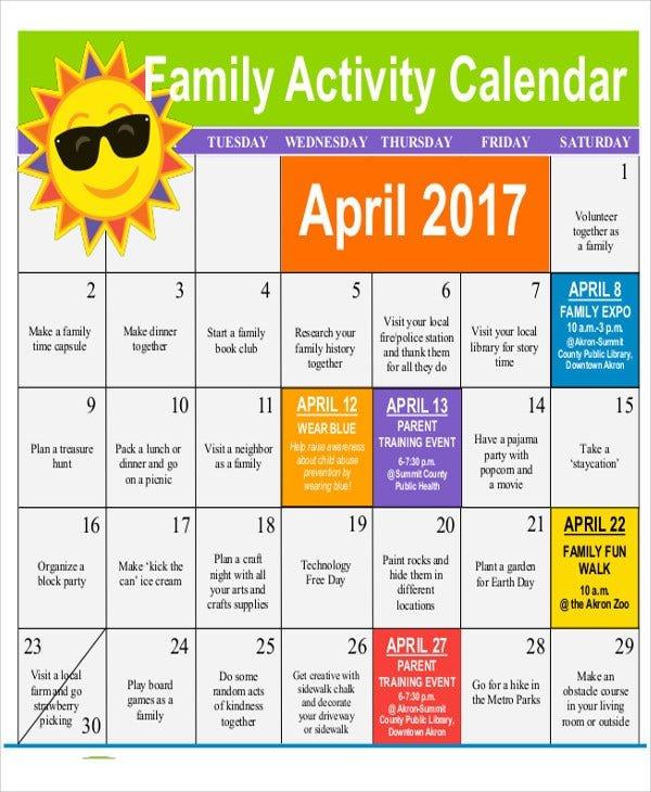 11+ Activity Calendar Templates – Free Samples, Examples Free Interactive Calendar Templates