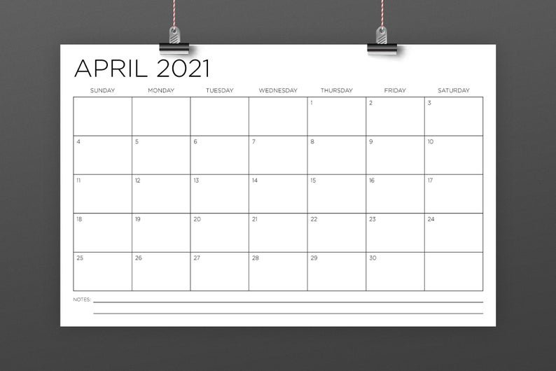 11 X 17 Inch 2021 Calendar Template Instant Download Thin 11 X 17 April Calendar