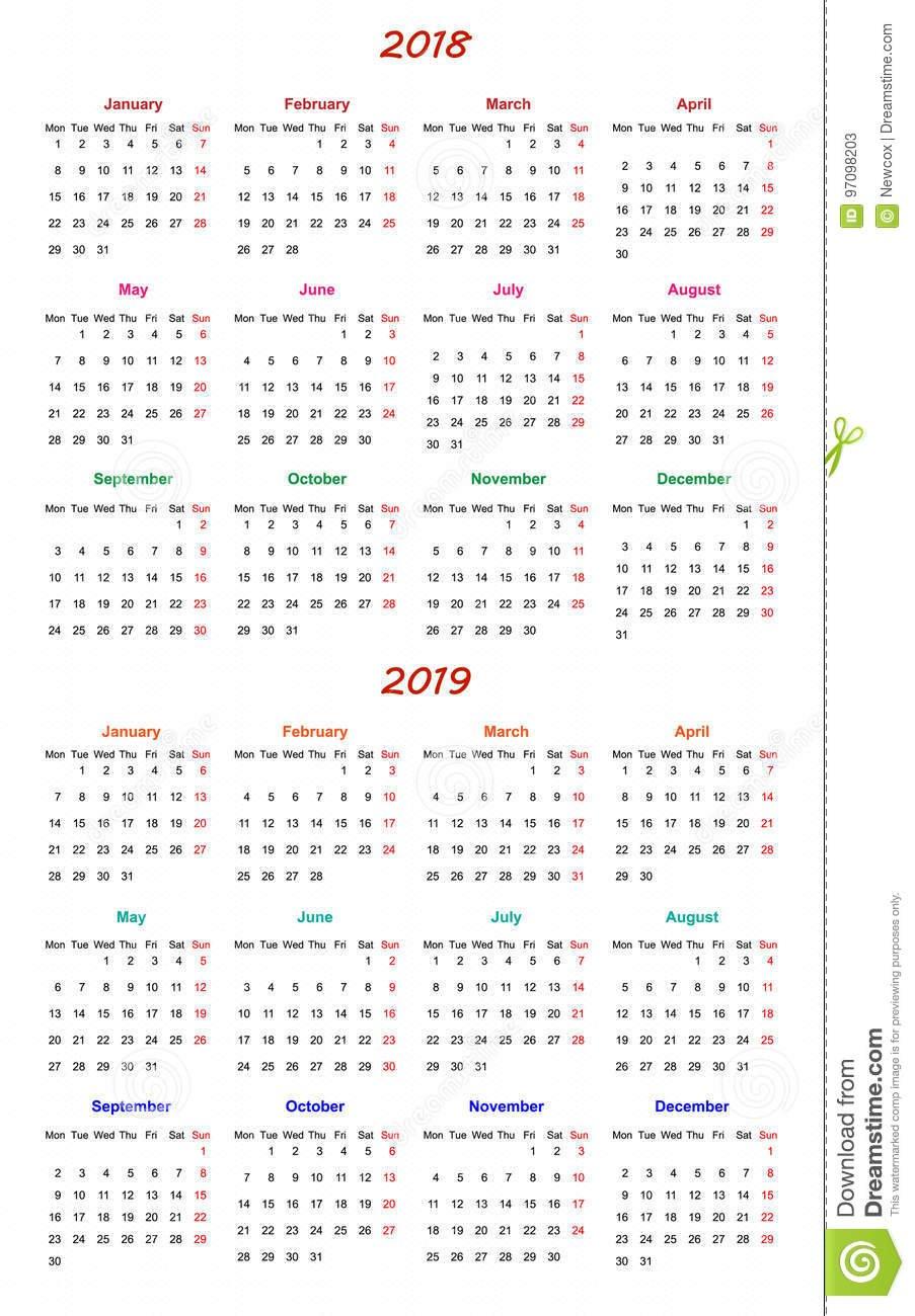 12 Month Calendar Design 2018 2019 Stock Vector Printable And Editable 12 Month Calendars