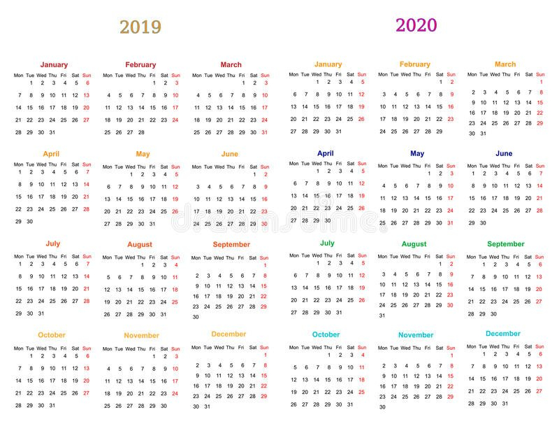 12 Month Calendar Design 2019 20120 Stock Vector Editable 12 Month Calendar