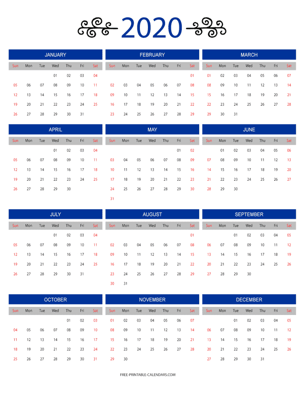 12 Month Colorful Calendar For 2020 – Free Printable Calendars Free Printable 8 1/2 X 11 Calendar