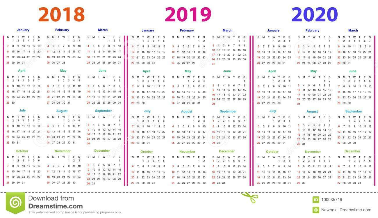 12 Months Calendar Design 2018 2019 2020 Stock Vector Editable 12 Month Calendar