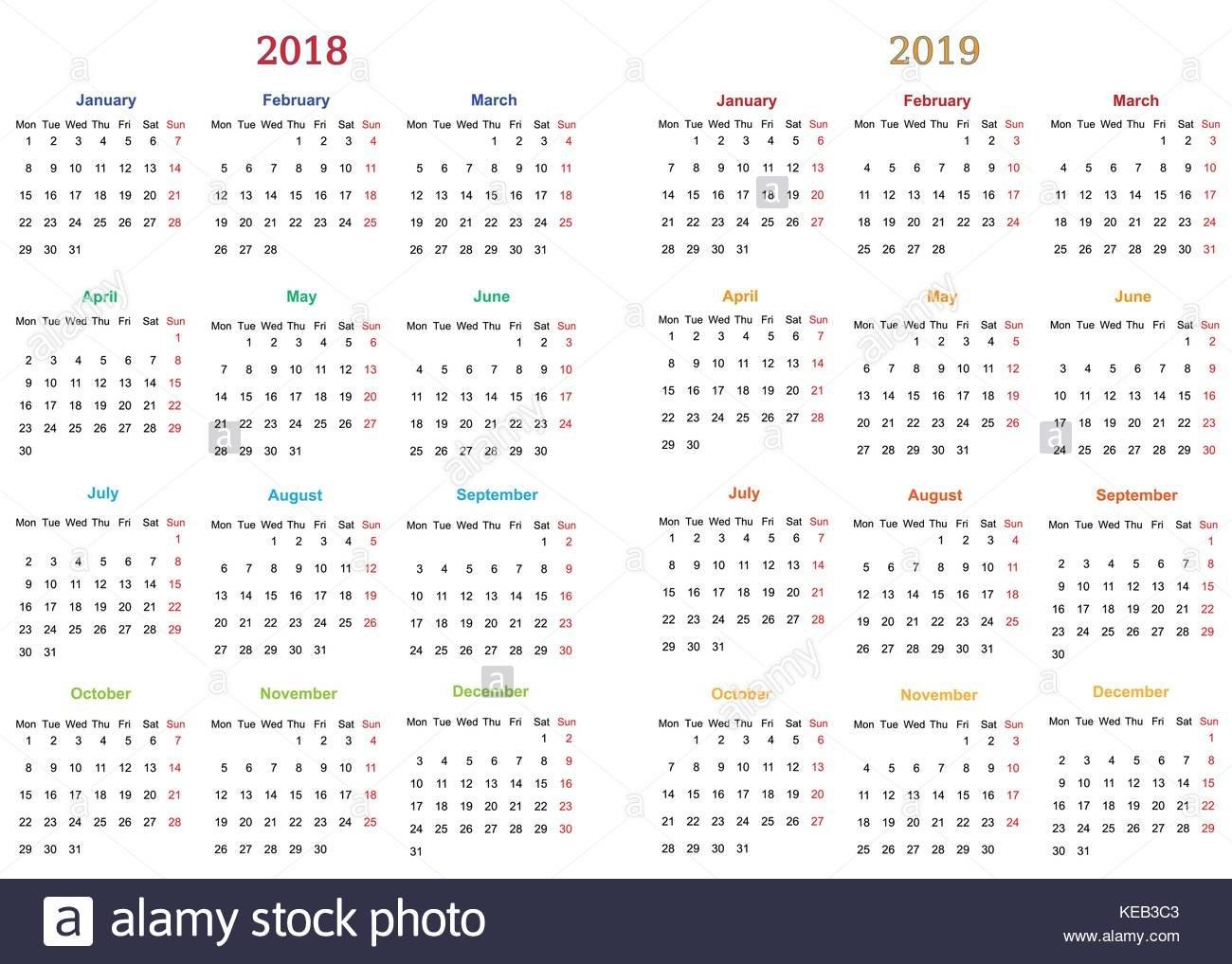12 Months Calendar Design 2018-2019 Printable And Editable Editable 12 Month Calendar