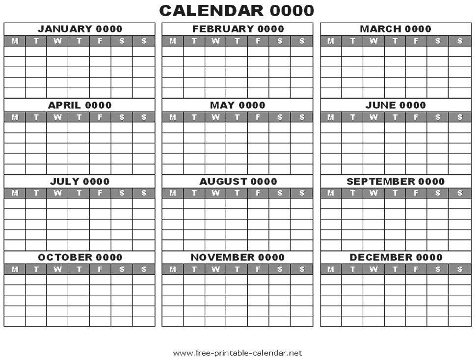 12 Months Calendars Printable Editable : Free Calendar Hp Free Calendars To Print