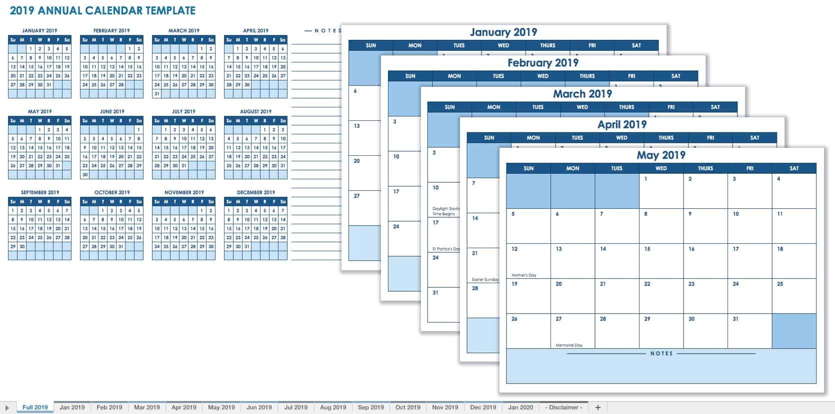 15 Free Monthly Calendar Templates   Smartsheet Updateable 12 Month Calendar – Free