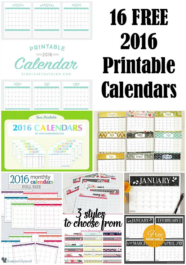 16 Free 2016 Printable Calendar Printable 2016 Calendar With Notes