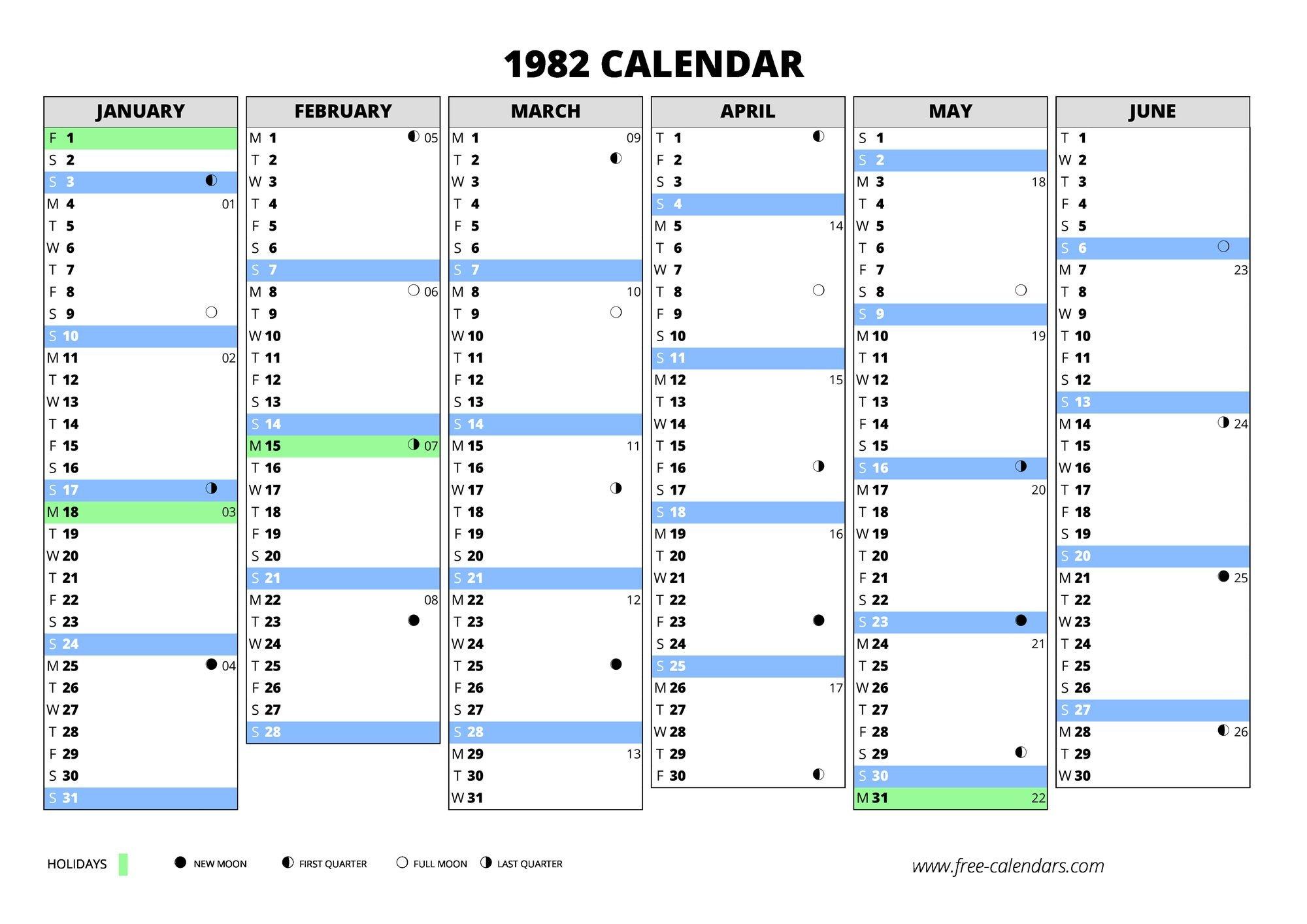 1982 Calendar ≡ Free Calendars Weekly Numbered 52 Week Calendar Printable
