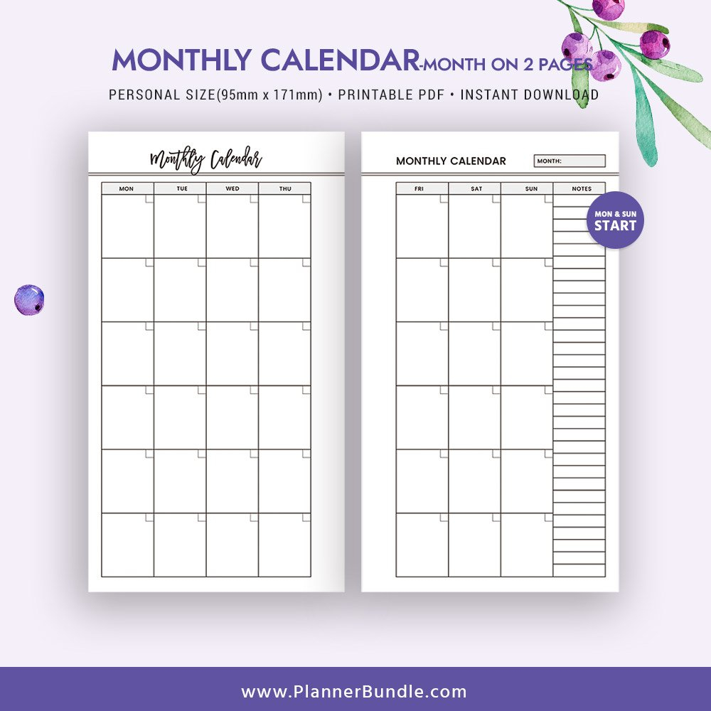 2 Page Monthly Planner Template | Example Calendar Printable Weekly 2 Page Calendar