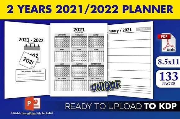 2 Years 2021 2022 Calendar Weekly Planner Kdp Interior Next Two Week Calendar