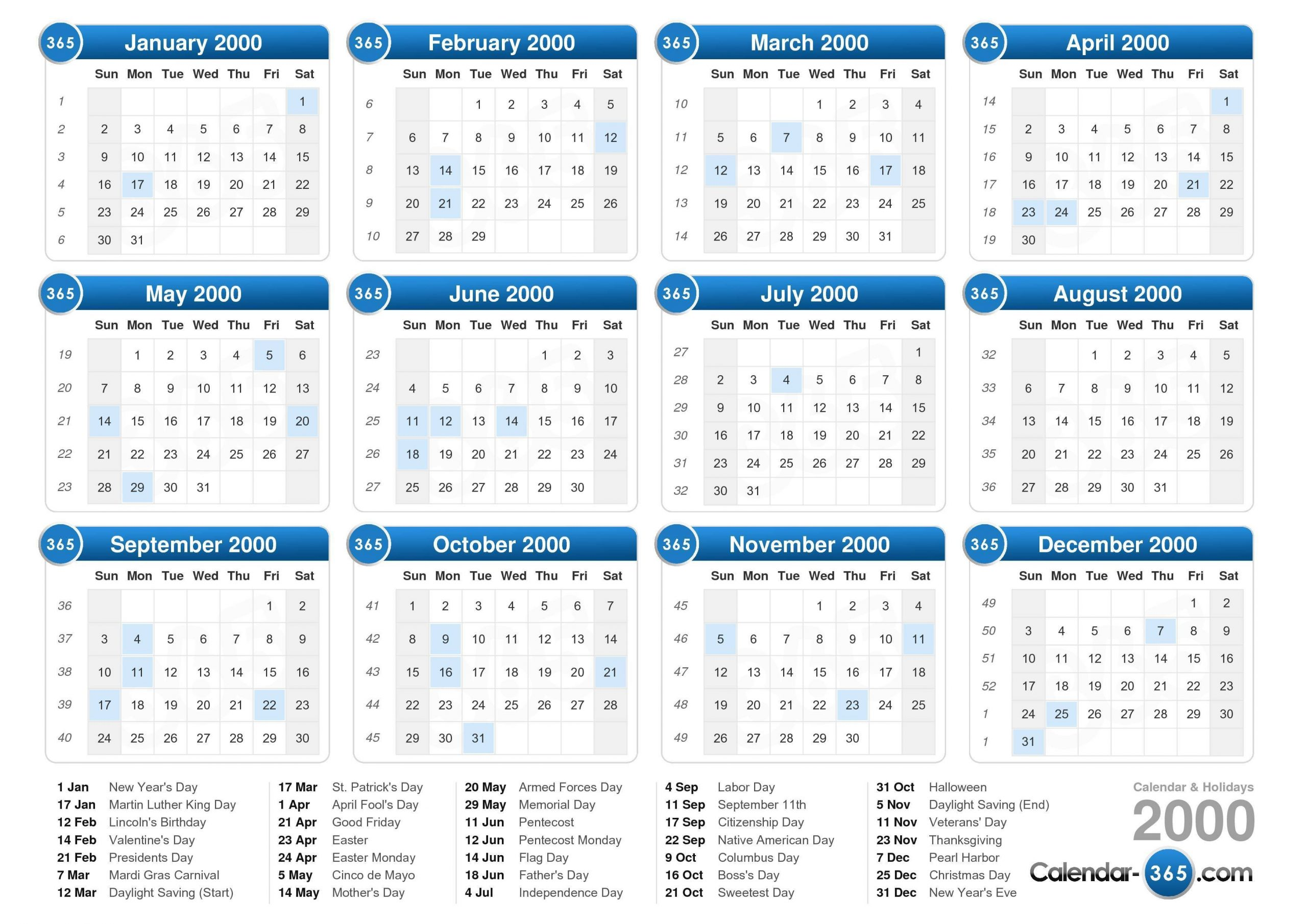 2000 Calendar Calendar With Number Days 365