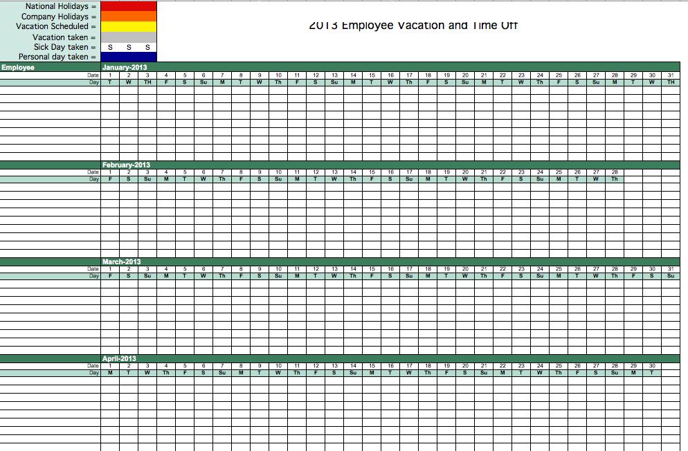 2013 Employee Attendance Tracking Calendar Annual Hr Calendar Template