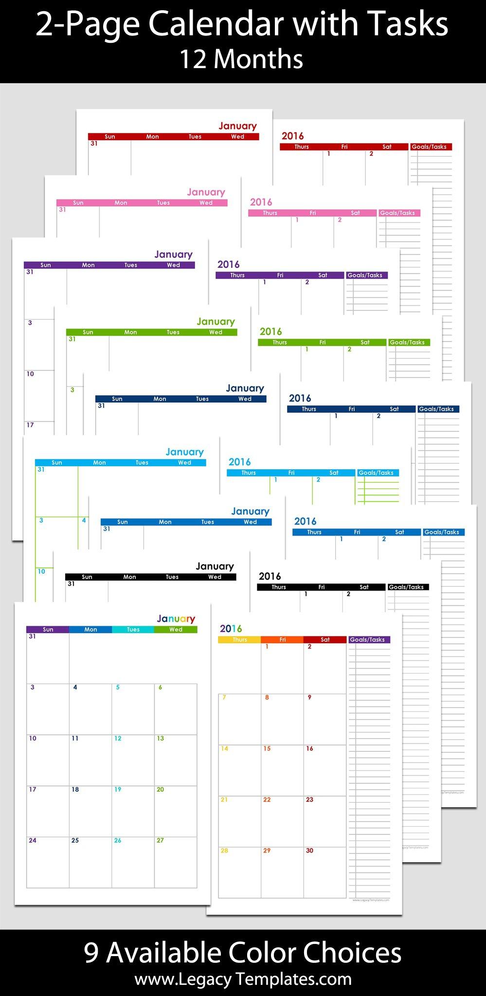 2015 12 Month 2 Page Calendar – Half Size | Legacy Templates 8 X 11 Calendar Pages