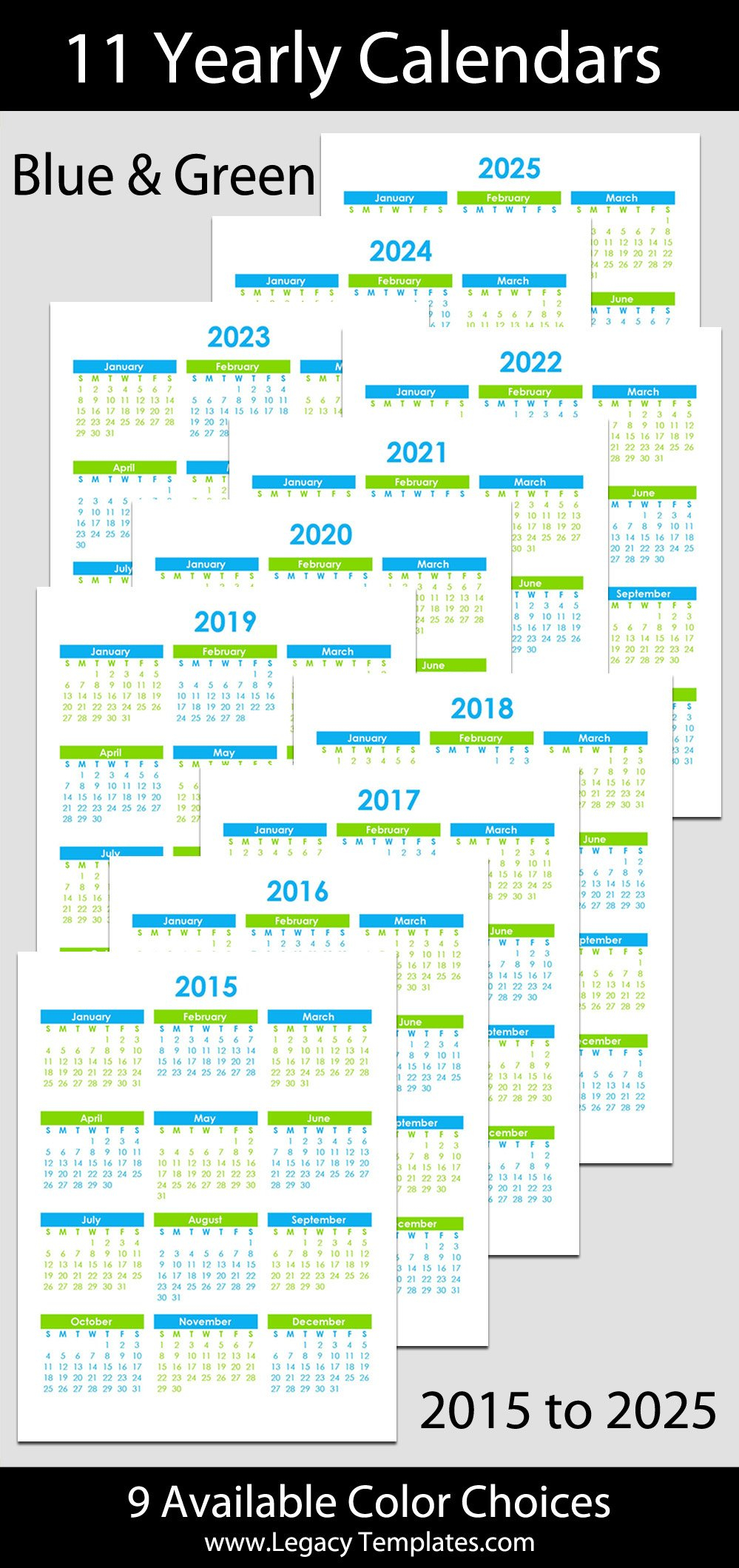 """2015 To 2025 Yearly Calendar - 8 1/2"""" X 11"""" 