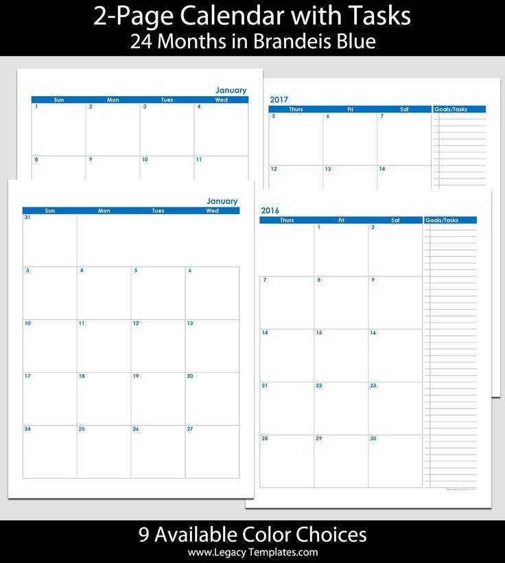2016 & 2017 24 Month 2 Page Calendar – 8 1/2″ X 11″ | 2016 Free Printable 8 1/2 X 11 Calendar
