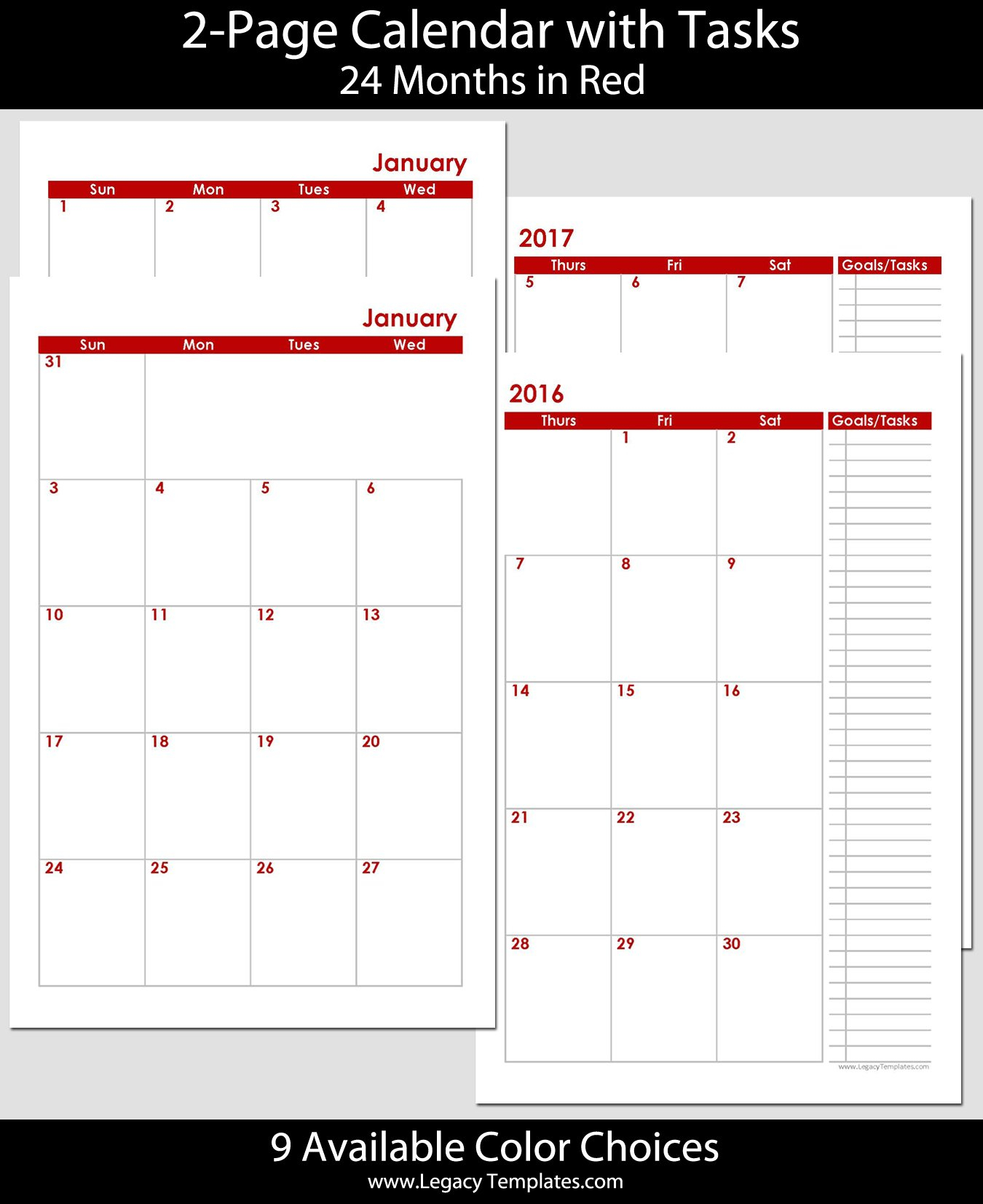 2016 & 2017 – 24 Months 2 Page Calendar – Half Size Monthly Calendar On 8 X 11 Sheet