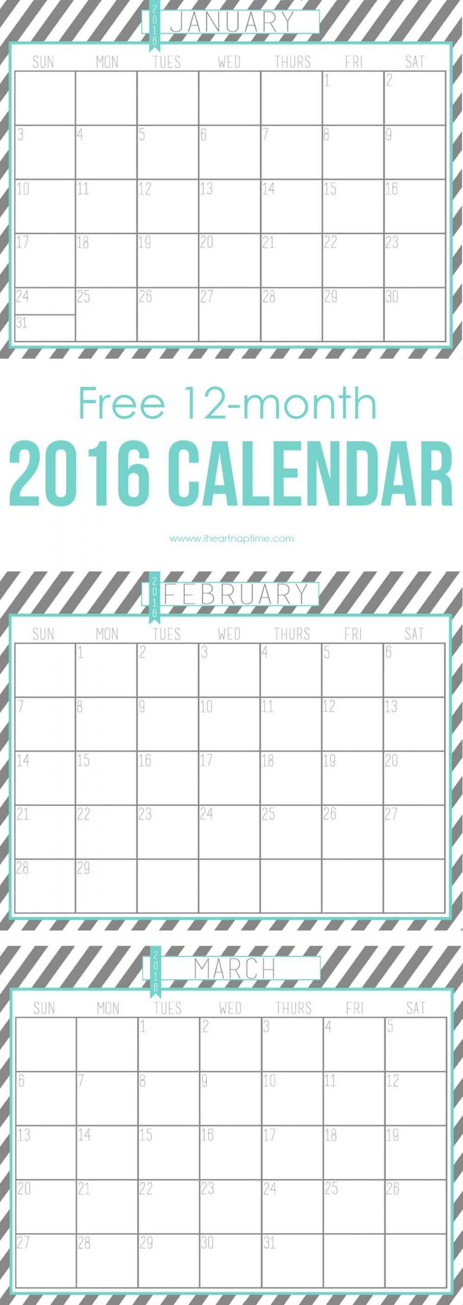 2016 Free Printable Calendar – I Heart Nap Time Printable 2016 Calendar With Notes