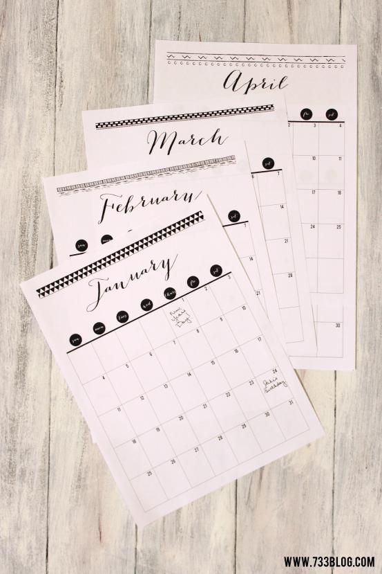2016 Printable Calendar – Inspiration Made Simple Printable 2016 Calendar With Notes
