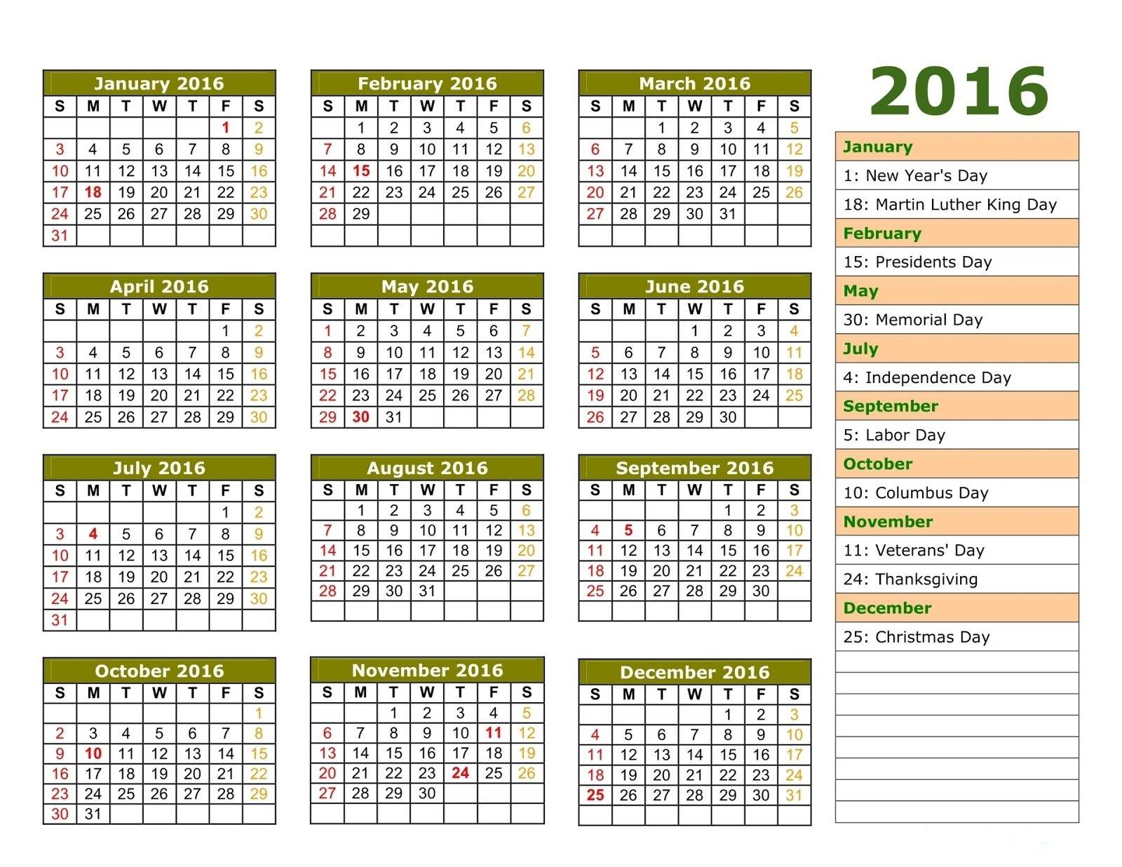 2016 Printable Calendar With European Holidays Printable 2016 Calendar With Notes