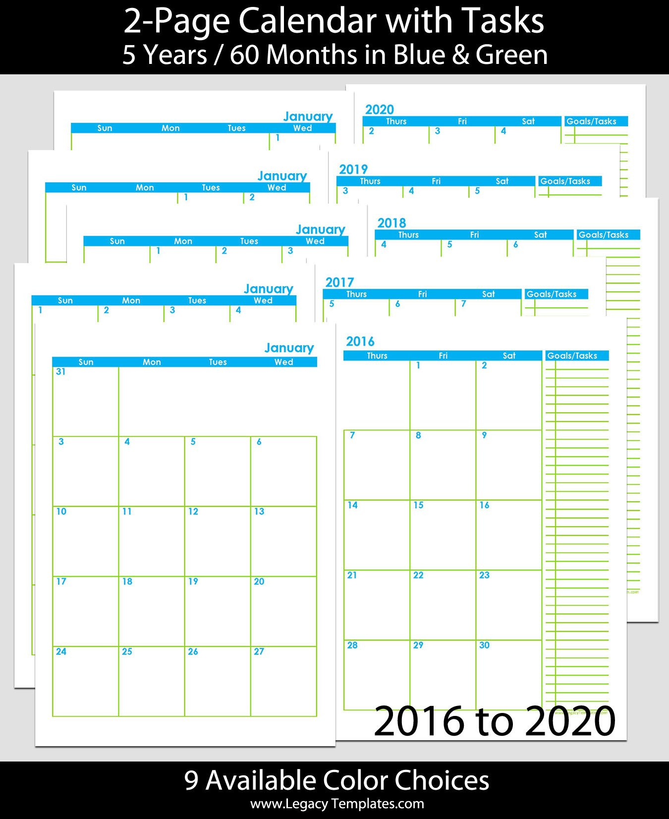 2016 Thru 2020 60 Months 2 Page Calendar – A5 | Legacy Free 8.5 X 5.5 Printable Calendar