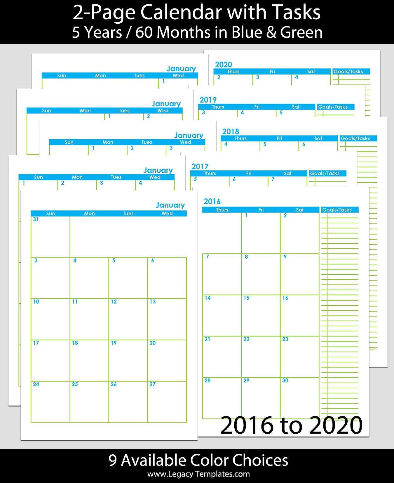 2016 Thru 2020 60 Months 2 Page Calendar – A5   Legacy Free Printable 8 X 11 May Calendar