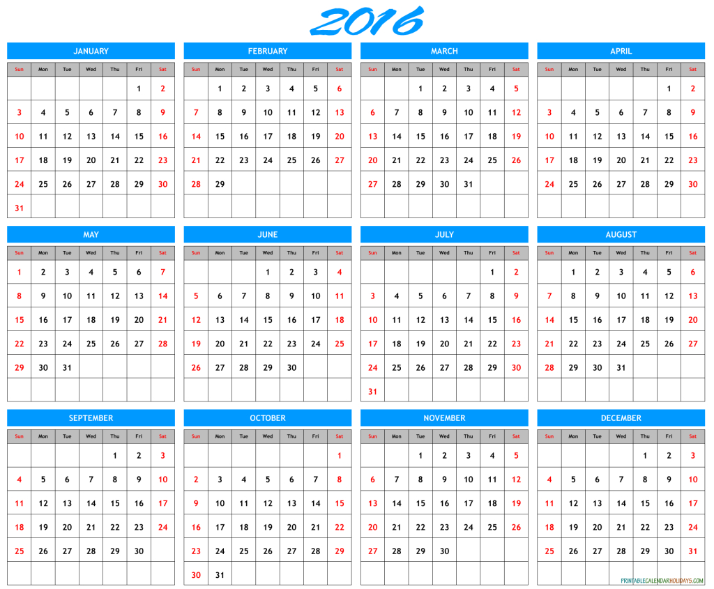 2016 Yearly Calendar Printable Archives - Free Printable Printable 2016 Calendar With Notes