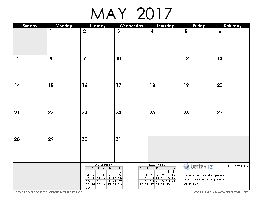 2017 Calendar Templates And Images Free Printable 8 X 11 May Calendar