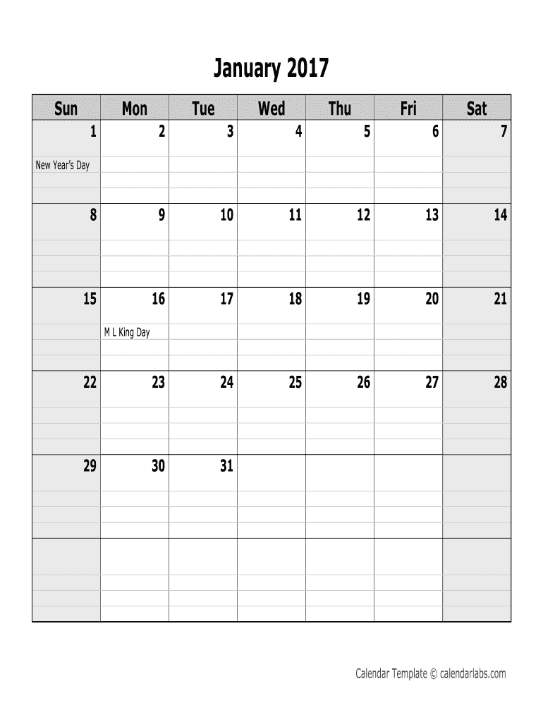 2017 Monthly Calendar – Calendarlabs. 2017 Monthly Large Printable Fill In Calender