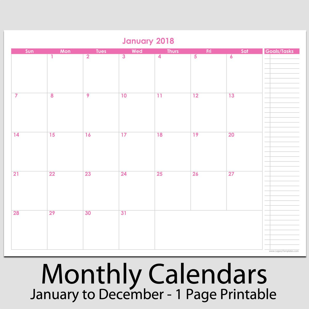 """2018 – 12 Month Calendar With Tasks – 8 1/2"""" X 11 Updateable 12 Month Calendar – Free"""
