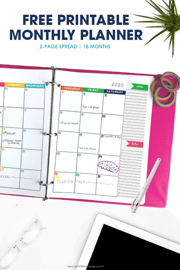 2019 2020 Monthly Calendar Planner   Free Printable Diabeic Calenders To Write On Then Print It Out'