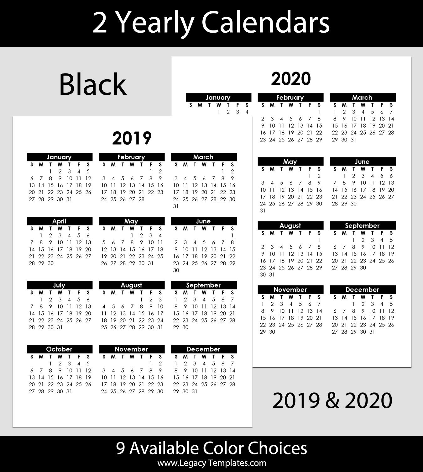 2019 & 2020 Yearly Calendar – 8.5 X 11   Legacy Templates Free Printable 8 X 11 May Calendar