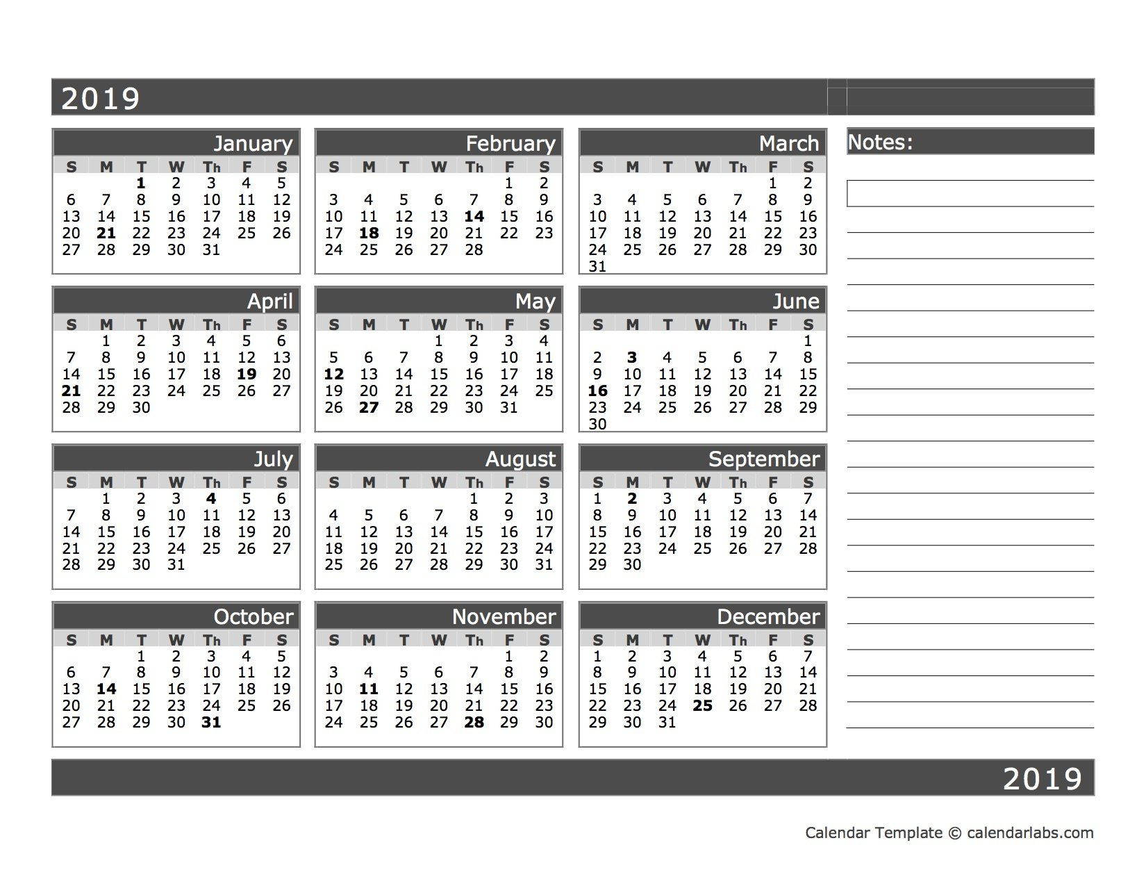 2019 Blank 12 Month Calendar In One Page – Free Printable Printable And Editable 12 Month Calendars