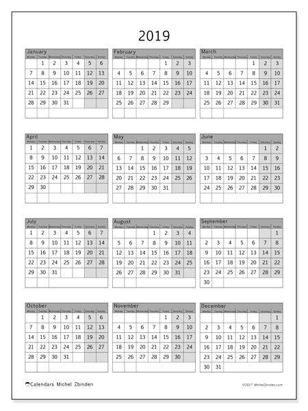 2019 Calendar (37Ms) – Michel Zbinden En 8 X 11 Calendar Pages