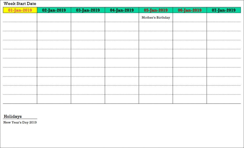 2019 Excel Calendar Template – Free – 19 Calendar Designs One Week Calendar To Type In