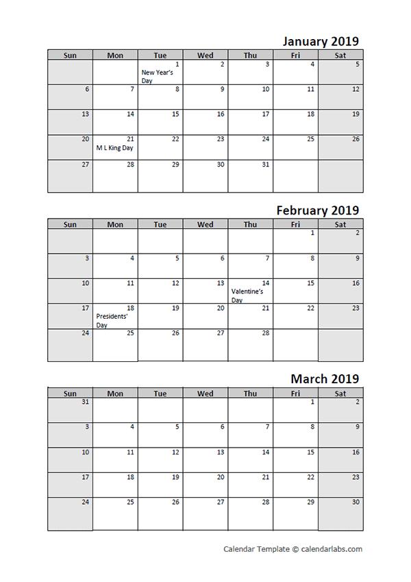2019 Quarterly Calendar With Holidays – Free Printable Printable 3 Month Calendar