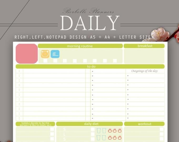 2019 Undated Printable Planner, Daily Undated Inserts, A6 8X5.5 Planner Inserts Free Printable