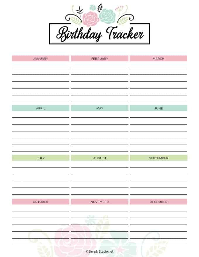 2019 Yearly Calendar Free Printable – Simply Stacie 12 Month Birthday Calendar Free Printable