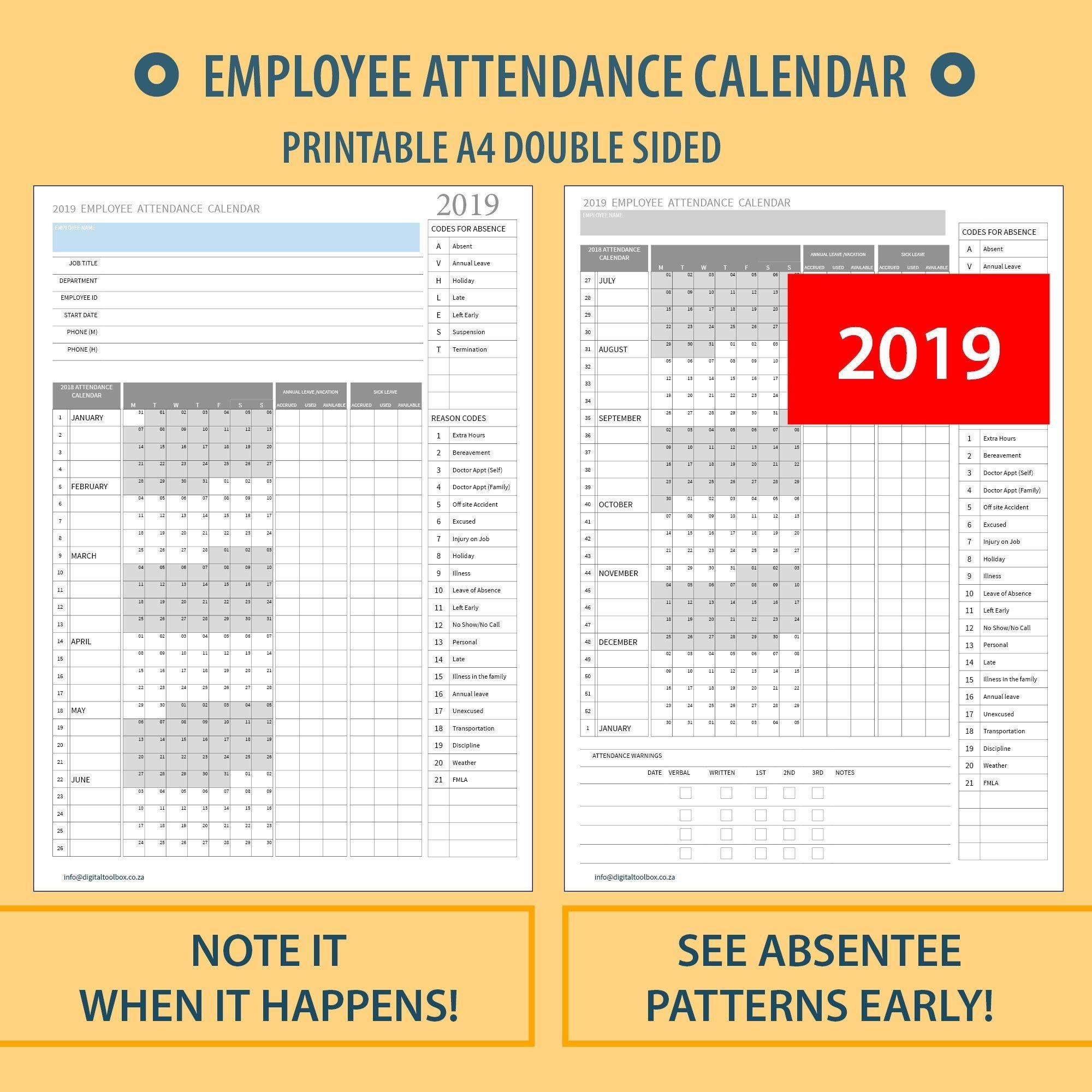 2020 A4 Printable Employee Attendance Calendar/Tracker For Annual Hr Planning Calendar Excel
