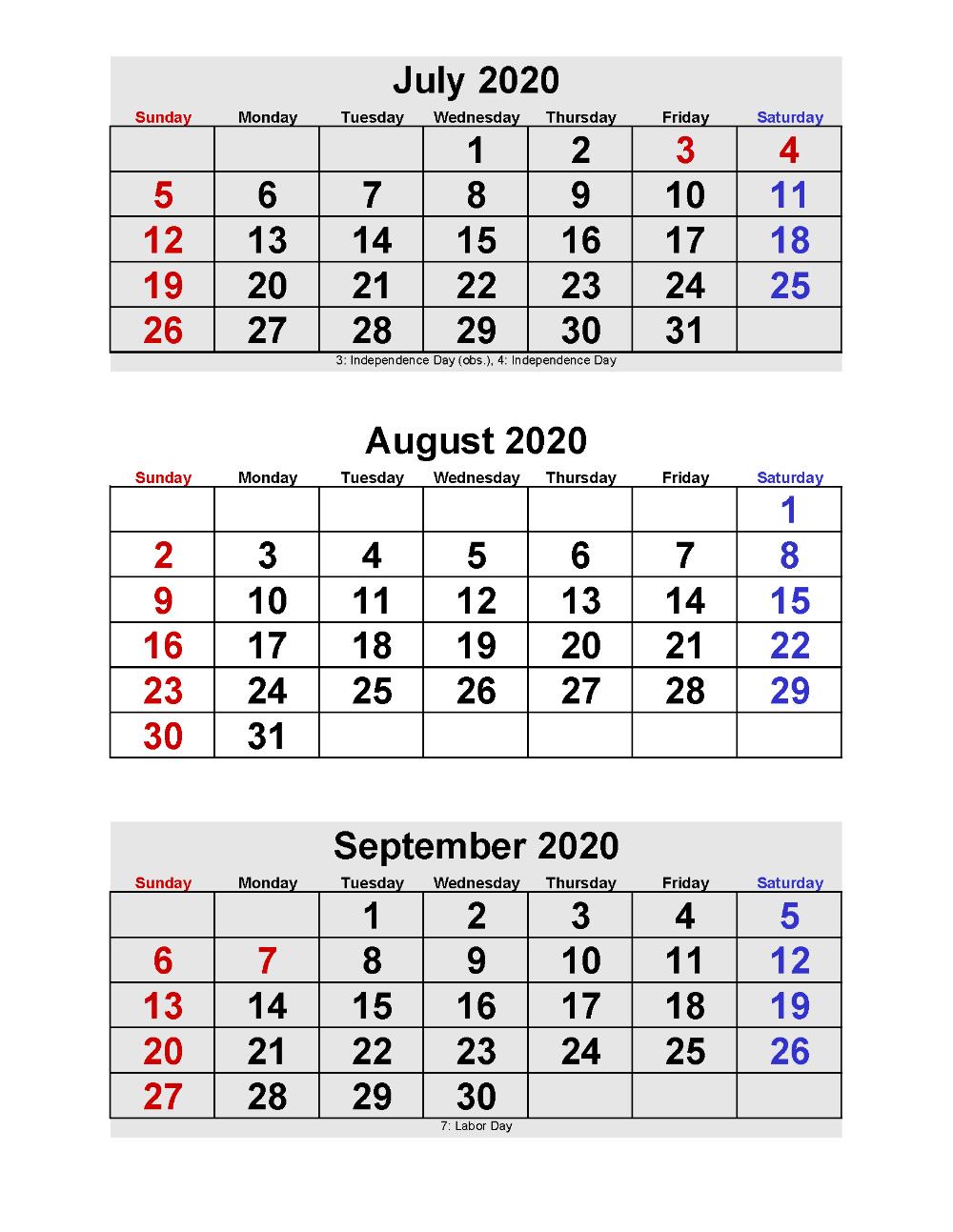 2020 Calendar Printable Pdf 3 Months Per Page   Free Free Printable Calendars By 3 Months