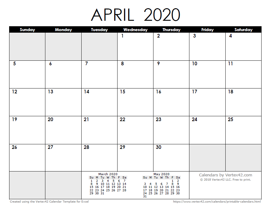 2020 Calendar Templates And Images 8X11 Sie Free April Calander