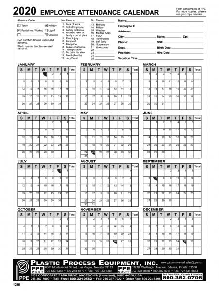 2020 Employee Attendance Calendar Pdf   Printable Calendar Fillable Birthday Calendar Template Excel